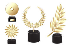 Set Of Golden Awards. Vector Stock Images