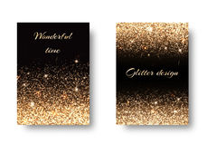 Set golden background. Set of backgrounds with shining golden lights against a black backdrop. Festive decoration of New Years Eve Royalty Free Stock Images