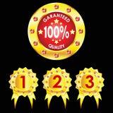 Set of golden badges on black background Royalty Free Stock Images