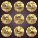 Set of golden badges. Set of luxury golden badges Stock Images