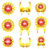 Set of golden badges on white background Stock Photography