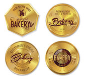 Set of golden bakery labels Stock Photography