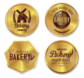 Set of golden bakery labels. Illustration Stock Photos