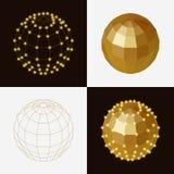Set of golden ball polygonal transparent skeleton nodes Stock Photography