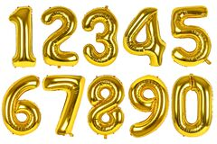 Set of golden balloons of numbers