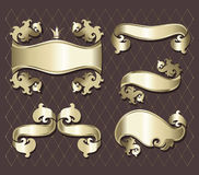 Set of golden  banners. Design of a  in vintage style Stock Photo