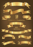 Set of 10 golden banners vector illustration. Collection of gilded banners and ribbons Royalty Free Stock Photography