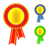 Set of Golden Blank Award Ribbon Rosette. 3d Rendering Stock Photos