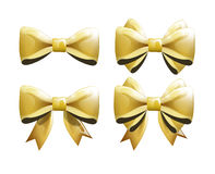Set of golden bows for presents or clothing Stock Image