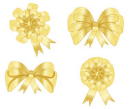 Set of golden bows, vector, illustration Royalty Free Stock Image