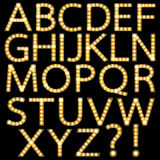 Set of Golden Broadway Light Bulb Alphabet Stock Image