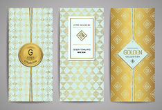 Set of golden brochures with hand drawn design elements. Vector trendy templates. Set of brochures with hand drawn design elements. Vector design templates Royalty Free Stock Photos