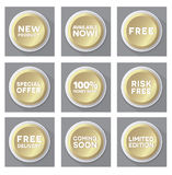 Set of golden  buttons Stock Image
