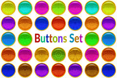 Set Golden Buttons with Patterned Gems Royalty Free Stock Photos