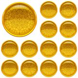 Set golden buttons with patterns Royalty Free Stock Images