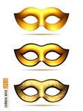 Set of Golden Carnival Mask stock illustration