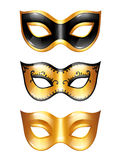 Set of golden carnival venetian masks on white background.  vector illustration