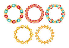 Set of golden chain frames with gemstones. Stock Photos