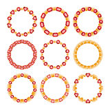 Set of golden chain frames with rubies. Stock Photos