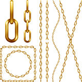 Set of golden chain Royalty Free Stock Images
