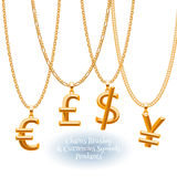 Set of golden chains with currencies pendants. Royalty Free Stock Image