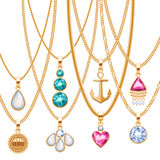 Set of golden chains with different pendants. Precious necklaces. Golden pendants with gemstones pearls. Ruby diamond pendants design vector illustration Stock Image
