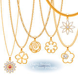 Set of golden chains with flower pendants. Royalty Free Stock Photography