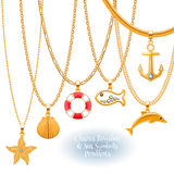 Set of golden chains with nautical pendants. Royalty Free Stock Photography
