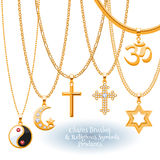 Set of golden chains with religious pendants. Royalty Free Stock Images