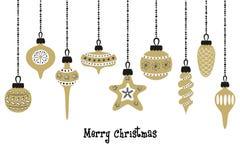 Set of golden christmas balls on the white background. Vector illustration Royalty Free Stock Image