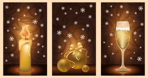 Set golden christmas banners Stock Photos