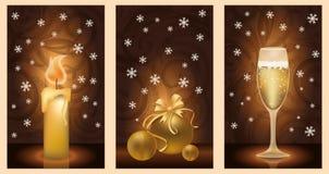 Set golden christmas banners. Vector illustration Stock Photos