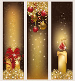 Set golden Christmas banners Stock Photography