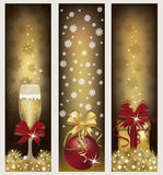 Set golden Christmas banners Stock Image
