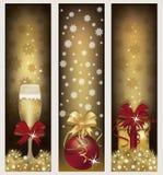 Set golden Christmas banners Stock Image