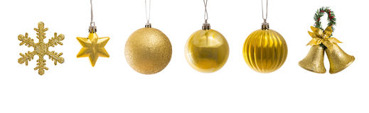 Set of golden christmas decoration Stock Image