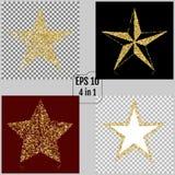Set of Golden Christmas stars. Vector illustrations. 4 in 1.  royalty free illustration
