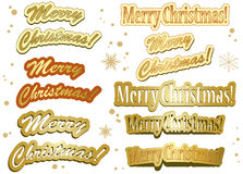 Set of golden christmas stickers - vector Stock Images