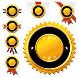 Set golden clear medals with ribbon Royalty Free Stock Images