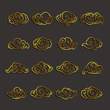 Japan clouds icon vector set stock illustration
