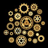 Set of golden cog wheels Stock Image