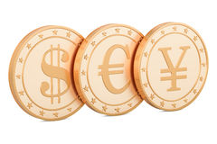 Set of golden coins. Dollar, euro and yen or yuan, 3D rendering Stock Images