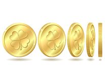 Set of golden coins with four leaf clover. Royalty Free Stock Photography