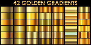 Set of 42 golden color gradients. Set of 42 golden color illustrator gradients with black background. All gradients are added to swatches and ready for use royalty free illustration
