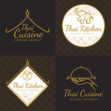 Set of golden color Thai food logo, badges, banners, emblem for asian food restaurant with thai pattern. Royalty Free Stock Photos