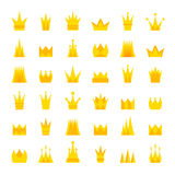 Set of golden, colorful crowns. Royalty Free Stock Image