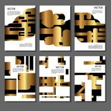 Set of golden covers for brochures Royalty Free Stock Images