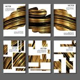 Set of golden covers for brochures Royalty Free Stock Photography