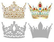Set of golden crown , tiara, diadem and silhouettes Stock Image