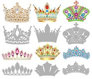 Set of golden crown , tiara, diadem and silhouettes Royalty Free Stock Images